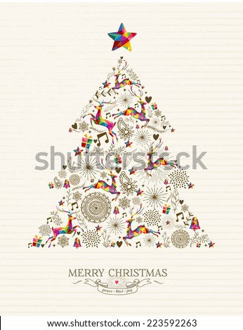 Vintage Christmas tree shape with colorful reindeer and retro label greeting card. EPS10 vector file organized in layers for easy editing. - stock vector