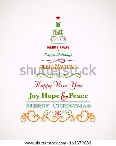Vintage Christmas tree with text and elements - stock vector