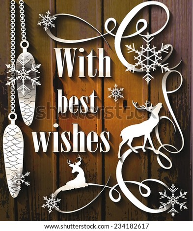 vintage christmas vector decorations on the wooden background - stock vector