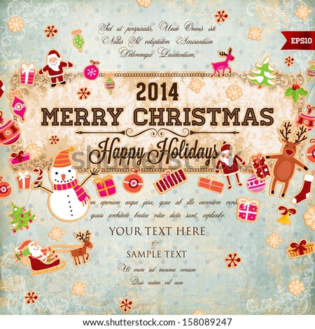 Vintage Christmas Vector with Retro Antique Frame and Set of Xmas Elements - stock vector