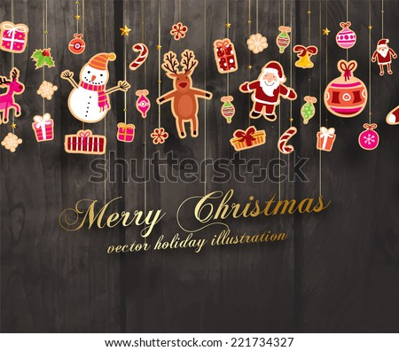 Vintage Christmas Vector with Xmas Paper Icons and Holiday Elements Set, Wooden Background - stock vector