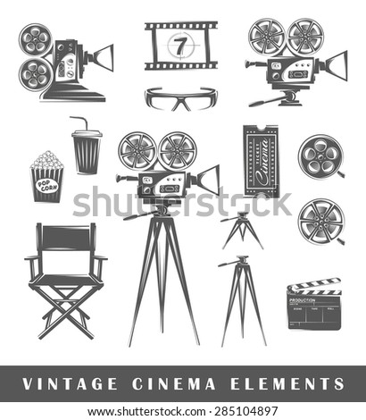 Vintage cinema elements: projector, film, 3D glasses, camera, popcorn, tripod, drink, ticket, chair, clapperboard, film strip. Set of silhouettes of a movie, isolated on a white background - stock vector