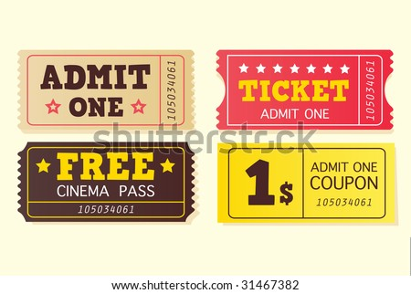 Vintage cinema tickets. On movie or to Theatre? Use my tickets! In 4 different variants. Vector Illustration. - stock vector