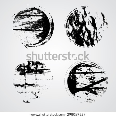 Vintage Circle Stamps Collection . Grunge Circles. Modern background. Retro Background. Texture Background. Circle Brush Stroke . - stock vector