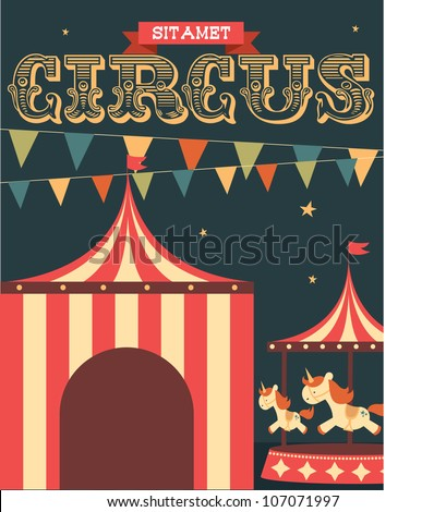 vintage circus poster template vector/illustration - stock vector