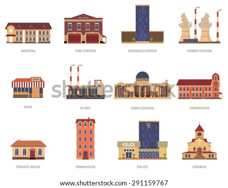 Vintage city buildings of hospital fire station and downtown business center icons set abstract isolated vector illustration. Editable EPS and Render in JPG format - stock vector
