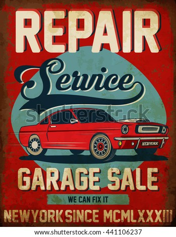 Vintage classic car repair service tee graphic design - stock vector