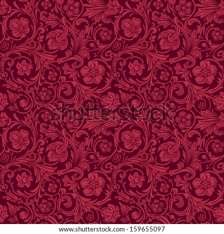 Vintage classic ornamental seamless vector pattern in baroque style. Silhouettes of stylized flowers and leaves in burgundy berry color. Renaissance. - stock vector