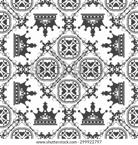 vintage classic pattern vector black on white background - stock vector
