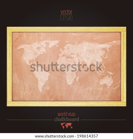 vintage classroom chalkboard with world map sketch - stock vector
