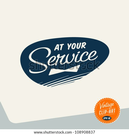 Vintage Clip Art - At Your Service - Vector EPS10 - stock vector
