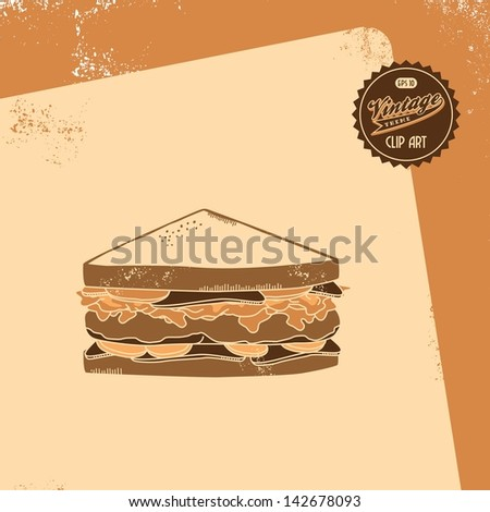 vintage clip art retro theme sandwich slice - stock vector