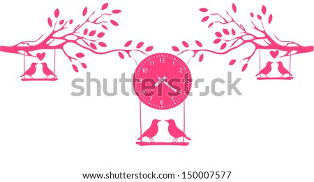 vintage clock and bird - stock vector