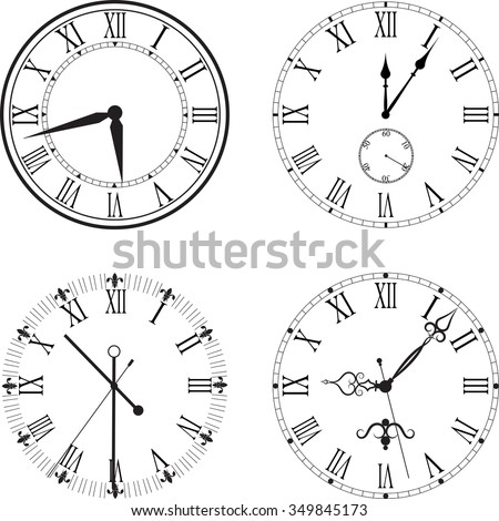 Vintage clock face with Roman numerals - stock vector
