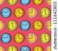vintage clock seamless pattern - stock vector