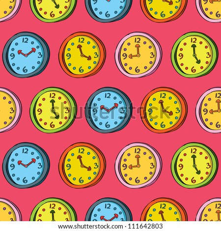 vintage clock seamless pattern - stock vector