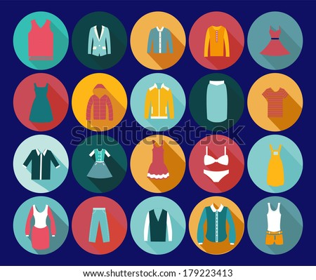 Vintage Clothing Icons - Illustration Department store clothing Fashion flat. - stock vector