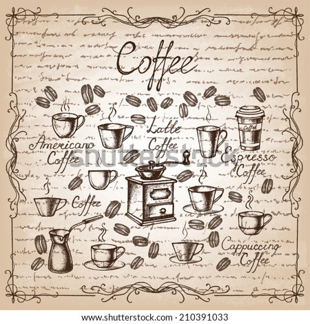 Vintage coffee collection. Sketches of hand-drawn coffee. Vector illustration. - stock vector