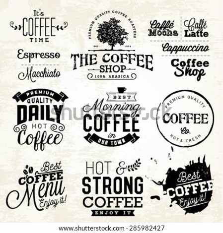 Vintage Coffee Labels, Badges and Typographic Elements - stock vector