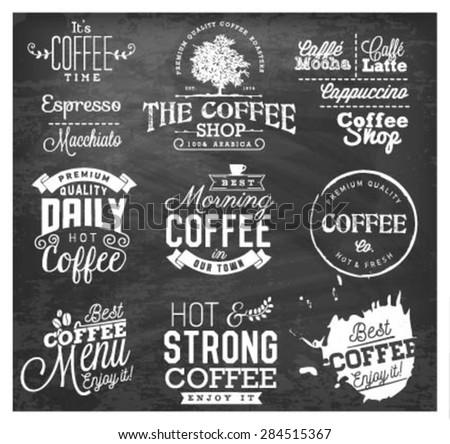 Vintage Coffee Labels, Badges and Typographic Elements on Chalkboard - stock vector