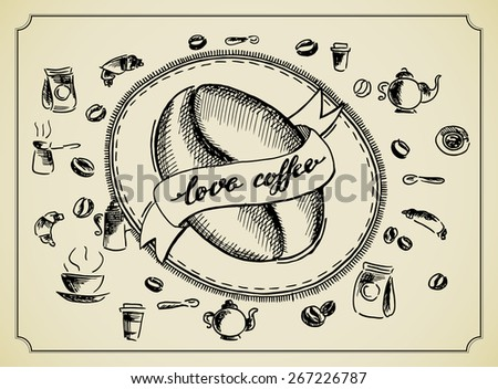 vintage coffee poster for coffee lovers - stock vector