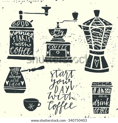 Vintage coffee set.  Hand drawn typography elements.  Moody sky abstract background. - stock vector