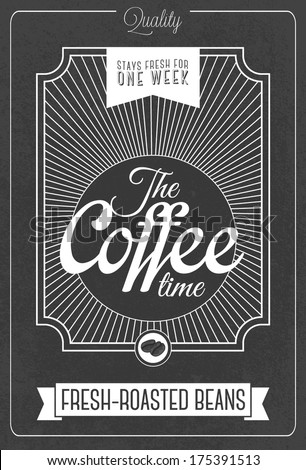 Vintage coffee typography (enjoy it), fresh roasted beam - stock vector