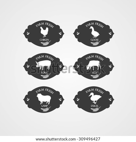 Vintage collection farm chicken, goose, duck, beef, lamb, pork. Meat labels and badges in Vintage Style. Meat labels collection. - stock vector
