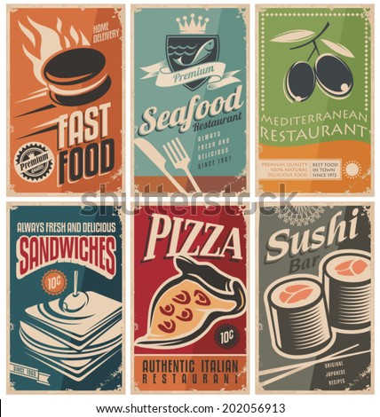 Vintage collection of food and restaurants posters. - stock vector