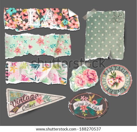 vintage collection-old paper tears,labels in retro and vintage tropical style - stock vector