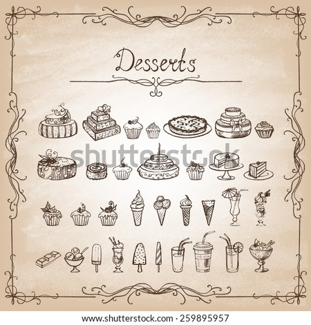 Vintage collection  sketches of hand-drawn desserts. Vector illustration. - stock vector