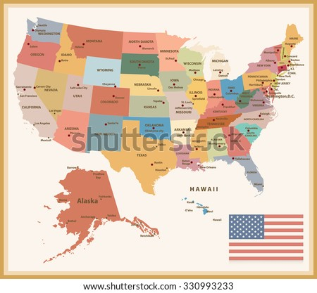 Vintage Color Political map of the USA with flag. - stock vector