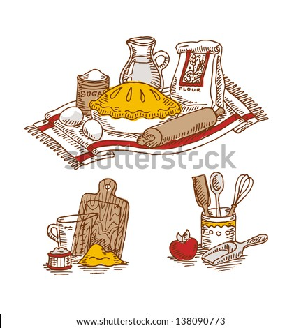 Vintage Colored Baking Still Life - stock vector