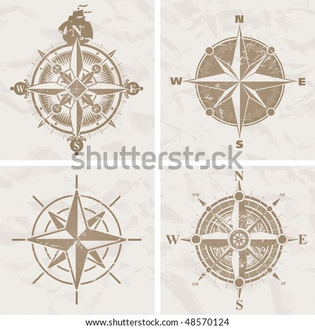 Vintage compass roses - stock vector