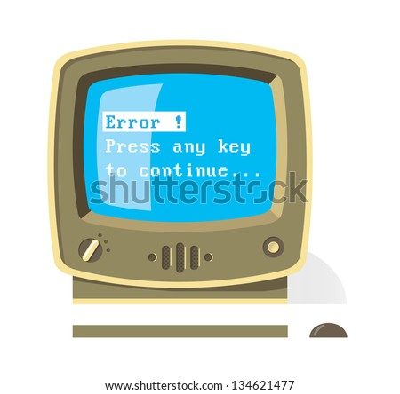 Vintage computer monitor with keyboard and mouse with Error Press any key to continue message on screen. Retro style illustration. - stock vector
