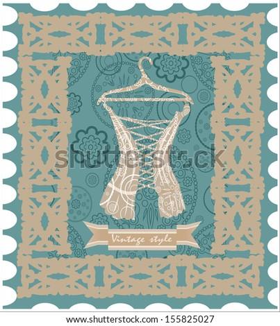 Vintage corset. Post card. - stock vector
