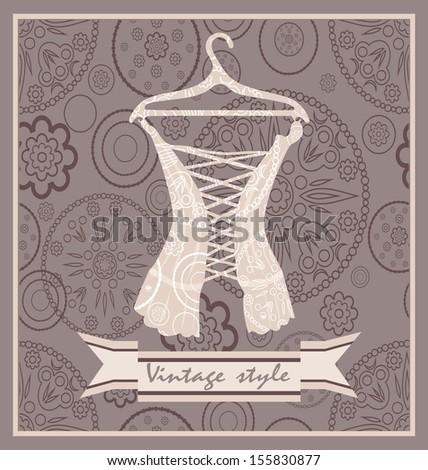 Vintage corset. Postcard.  - stock vector