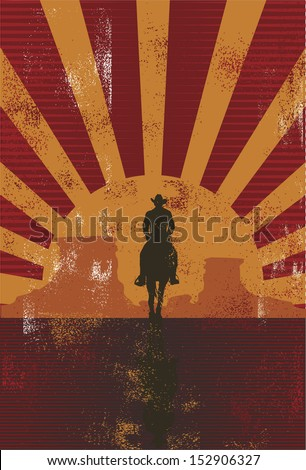 Vintage cowboy background, vector - stock vector