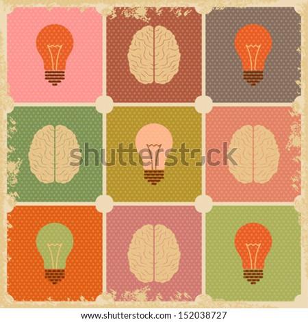 vintage Creative Brain idea - stock vector