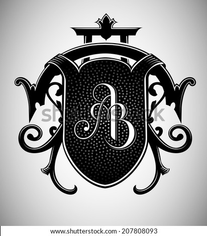 Vintage Crest with AB Monogram - stock vector
