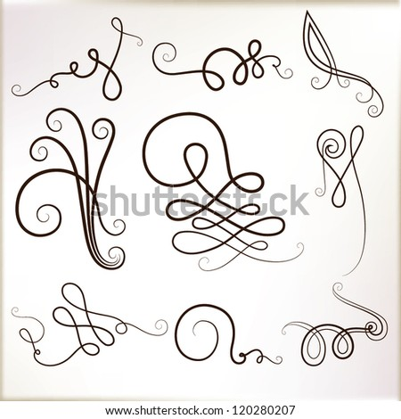 Vintage curly elements. vector set - stock vector