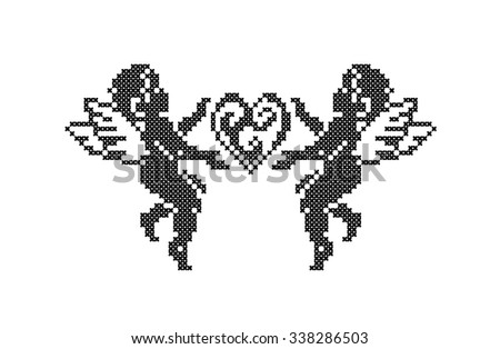 Vintage cute cupid silhouette and heart. Valentines day. Vector element embroidery. - stock vector