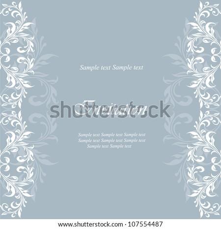 Vintage damask floral invitation card. - stock vector