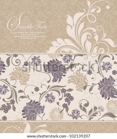 vintage damask invitation card - stock vector