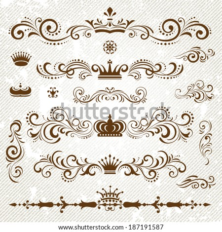 Vintage decoration design elements with page decor and crown - stock vector