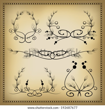 Vintage decorative elements and dividers 4. Vector illustration. - stock vector