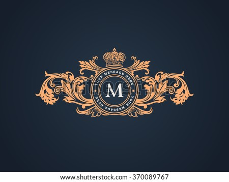 Vintage Decorative Elements Flourishes Calligraphic Ornament. Letter M. Elegant emblem template monogram luxury frame. Royal line logo. Vector sign for restaurant, boutique, heraldic, cafe, hotel - stock vector