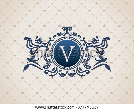Vintage Decorative Elements Flourishes Calligraphic Ornament. Letter V. Elegant emblem template monogram luxury frame. Royal line logo. Vector sign for restaurant, boutique, heraldic, cafe, hotel - stock vector