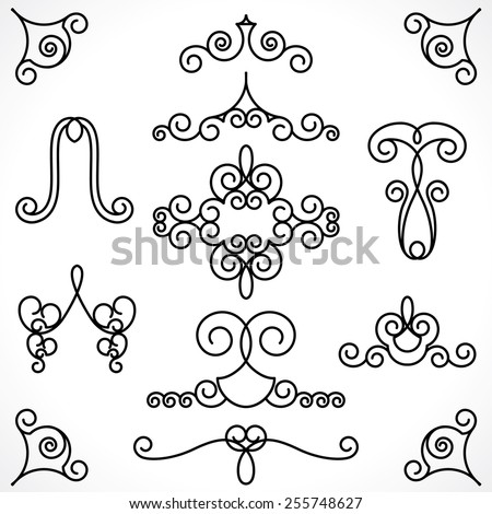 vintage decorative elements in calligraphic style. various frame, patterns for decor - stock vector