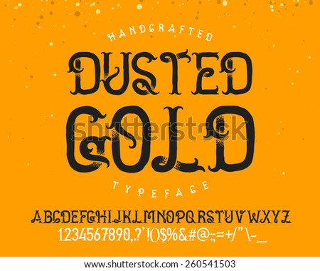 "Vintage decorative handcrafted font named ""Dusted Gold"" - stock vector"